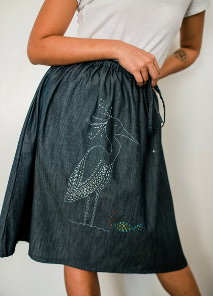 Little Egret Denim Drawstring Skirt no. 1