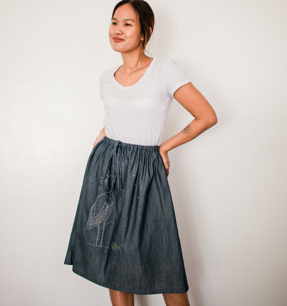 Little Egret Denim Drawstring Skirt no. 2