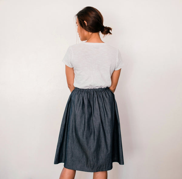 Little Egret Denim Drawstring Skirt no. 3