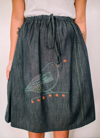 Buzzing Flowerpecker Denim Drawstring Skirt no. 3