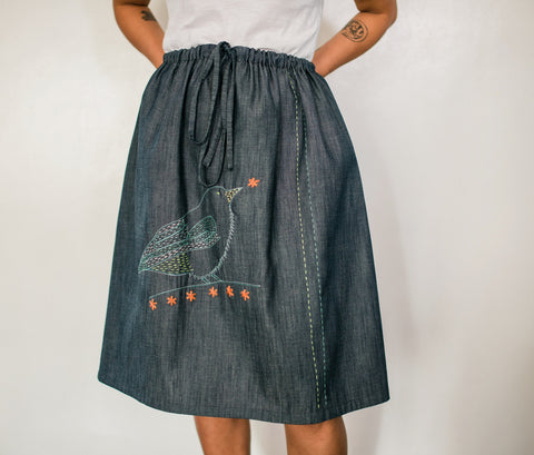 Buzzing Flowerpecker Denim Drawstring Skirt no. 1