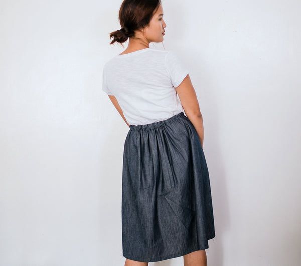 Celestial Monarch Denim Drawstring Skirt no. 2