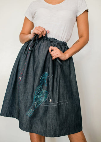 Celestial Monarch Denim Drawstring Skirt no. 1
