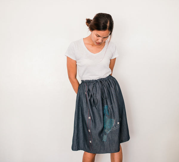 Celestial Monarch Denim Drawstring Skirt no. 3