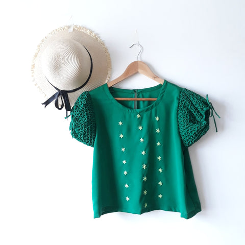 Sofia hand-smocked blouse - green crepe