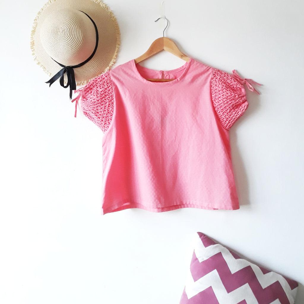 Sofia hand-smocked blouse - pink