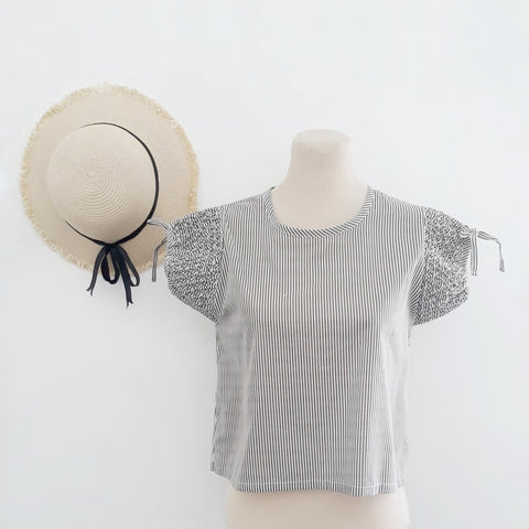 Sofia hand-smocked blouse - coffee & white striped cotton