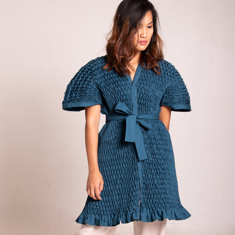 Swan Dress & Jacket - printed blue and black