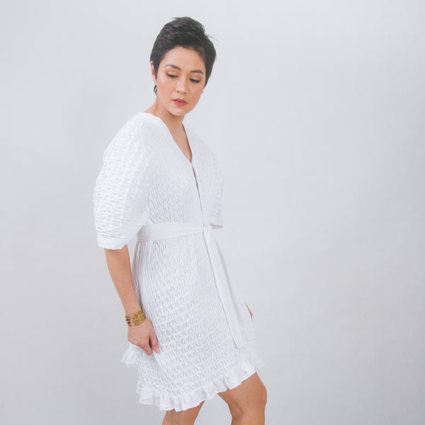Swan hand-smocked dress and jacket