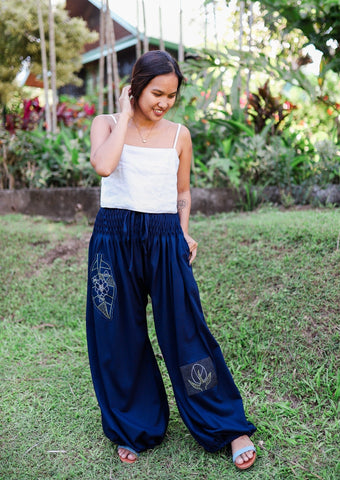 Patched Tangier Harem Pants - Sampaguita