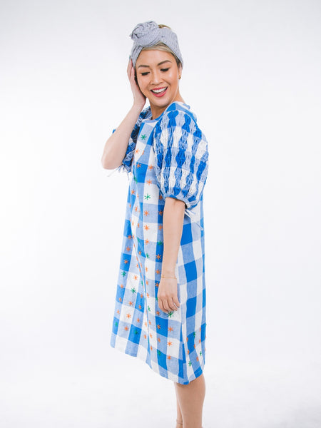 Tats Dress - checkered blue & white