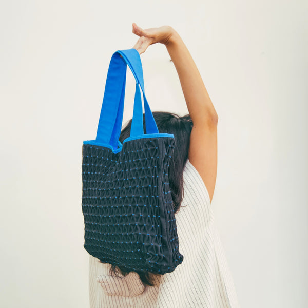 Honeycomb Tote Bag - black & aqua