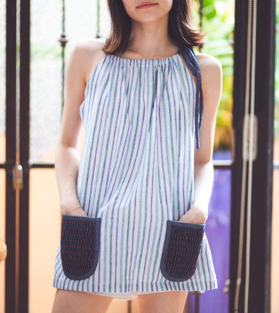 Trixie Halter Top - striped blue-and-white linen