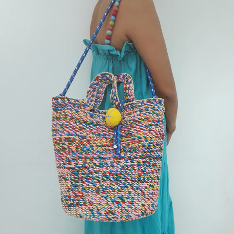 Pink Tropical Beach Bag with Strap