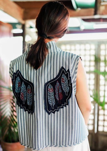Winged Vest - Blue Stripes