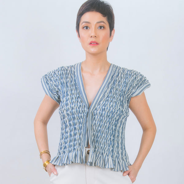 Hand-smocked vest in striped cotton