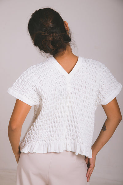 Karine Two-Way Vest  - white piqué