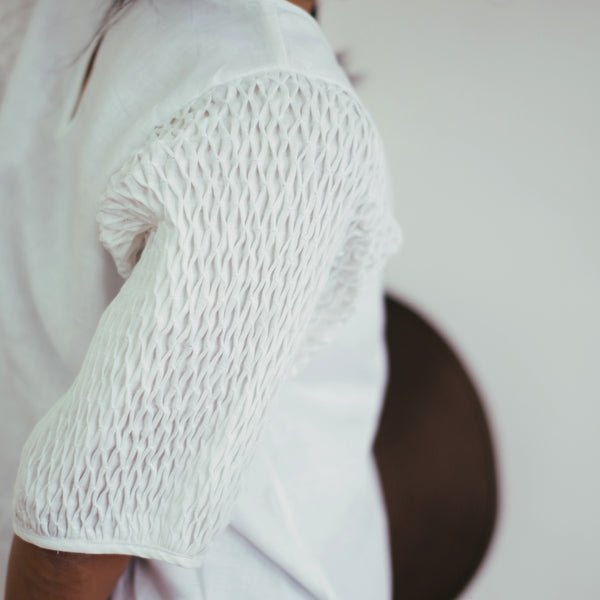 Honeycomb Dress - white linen