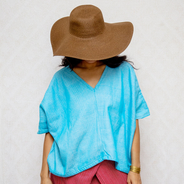 Take Me Away Winged Blouse - vibrant blue