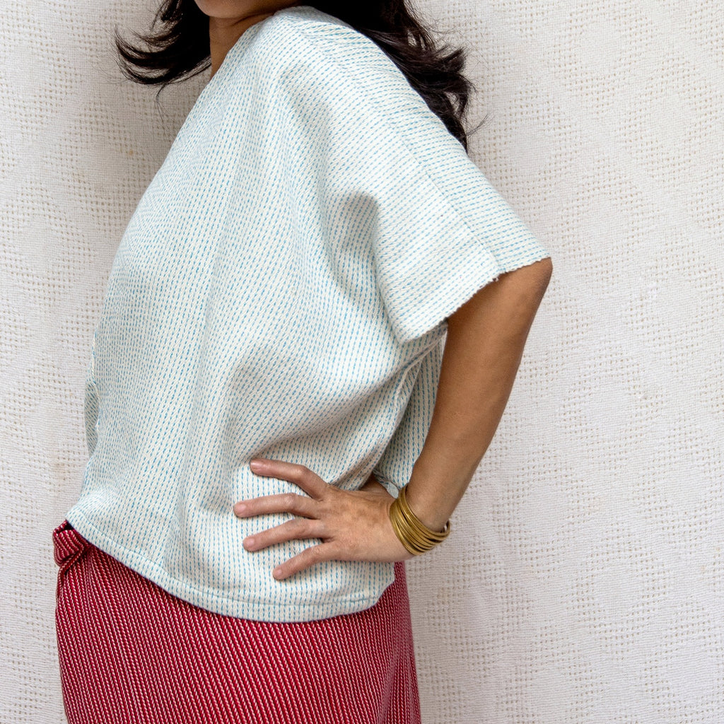 Take Me Away Winged Blouse - pale blue