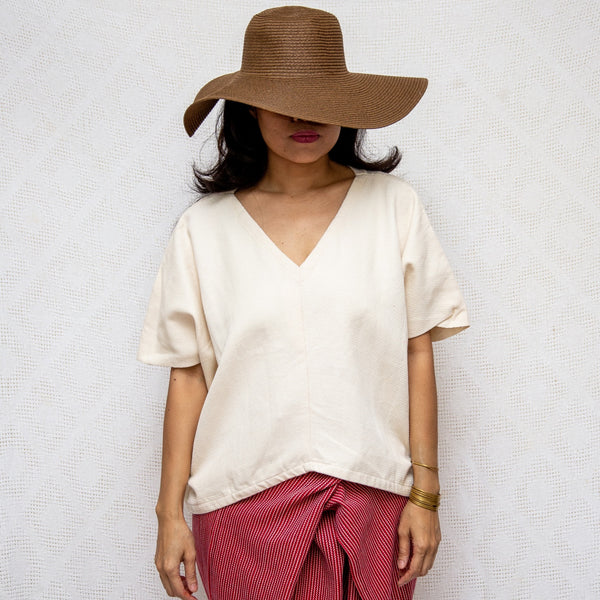 Take Me Away Winged Blouse - cream