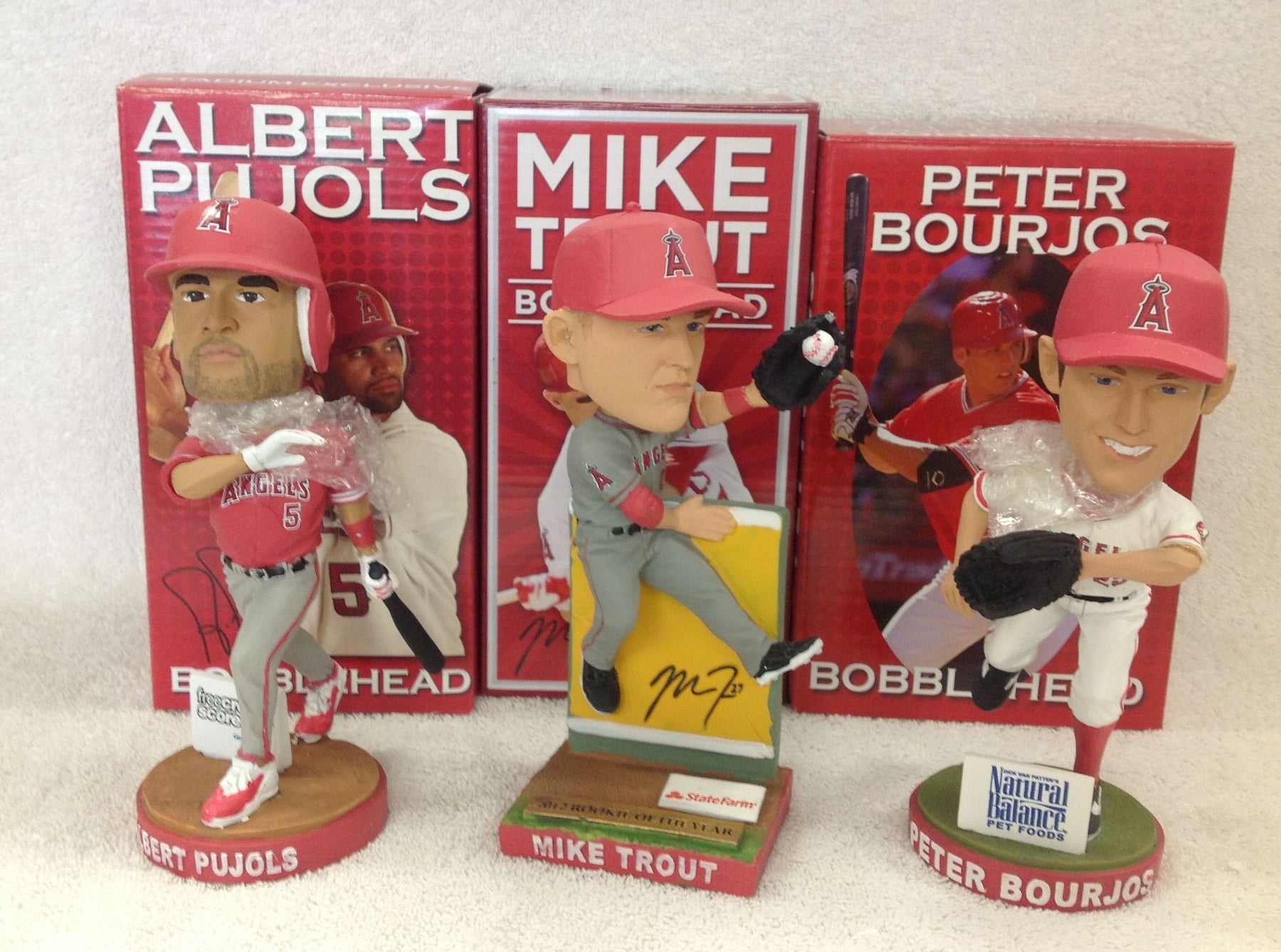 Mike Trout and Albert Pujols Peter Bourjos Bobblehead Set - BobblesGalore