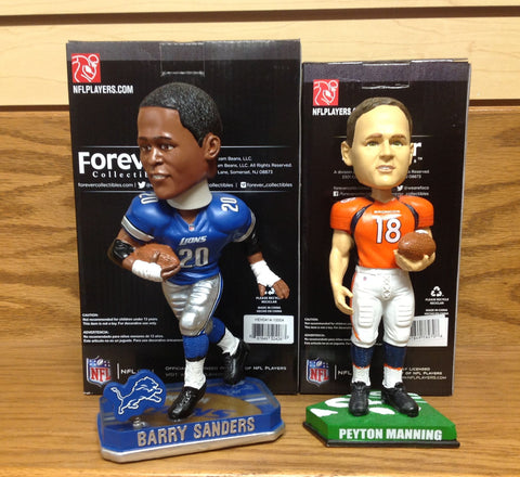Barry Sanders and Peyton Manning Bobblehead Set