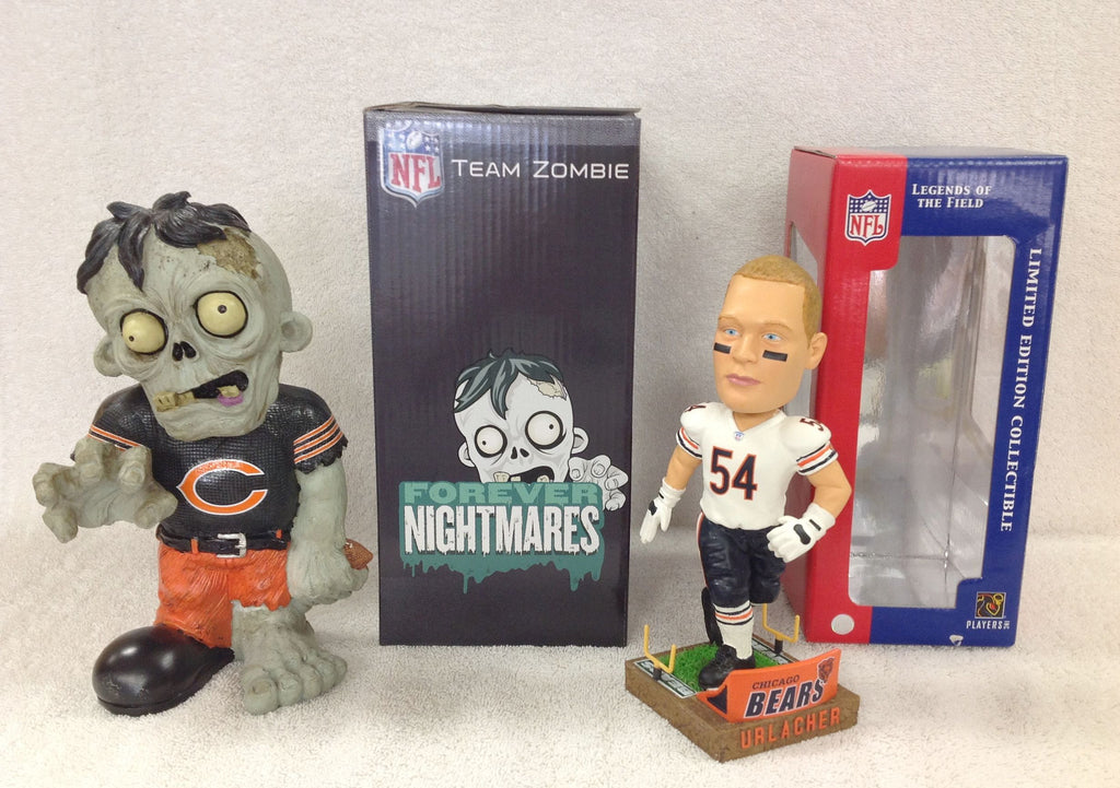 Brian Urlacher Bobblehead and Chicago Bears Zombie - BobblesGalore