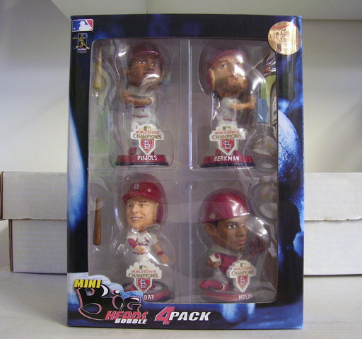 Yadier Molina Matt Holliday Lance Berkman Albert Pujols WORLD SERIES Bobblehead Set - BobblesGalore