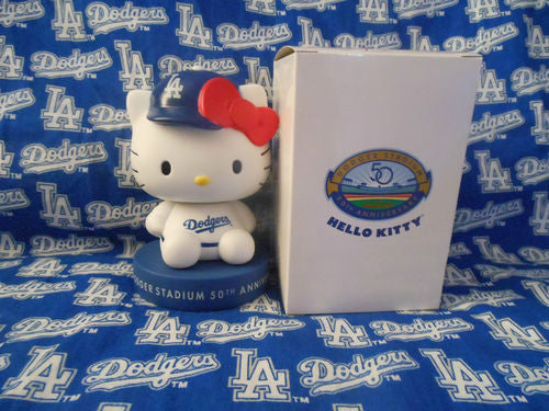 Hello Kitty Dodgers Bobblehead and Tote Bag - BobblesGalore
