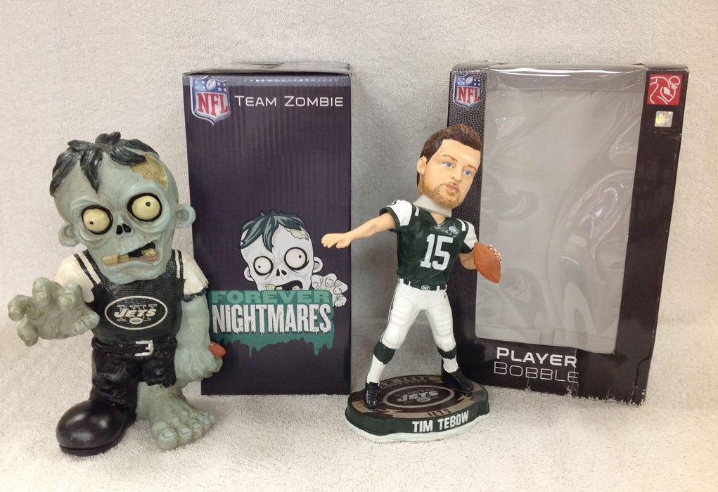 Tim Tebow Bobblehead and New York Jets Zombie - BobblesGalore