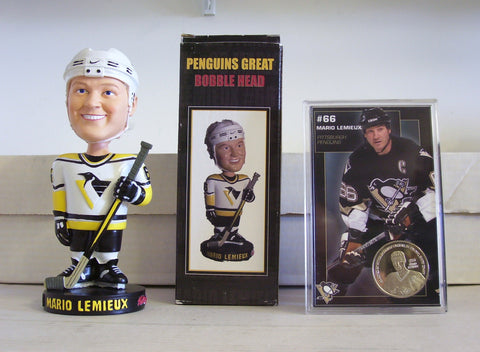 Mario Lemieux Coin and Bobblehead - BobblesGalore