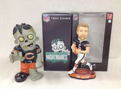 Jay Cutler Bobblehead and Chicago Bears Zombie - BobblesGalore
