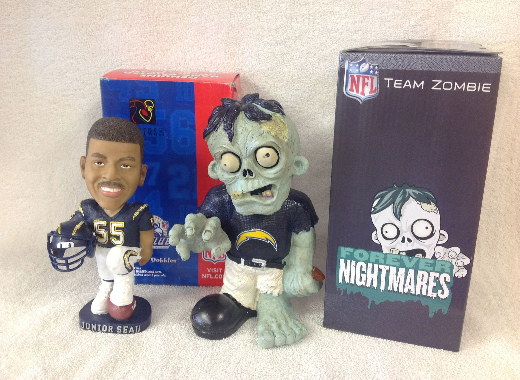 Junior Seau Bobblehead and San Diego Chargers Zombie - BobblesGalore