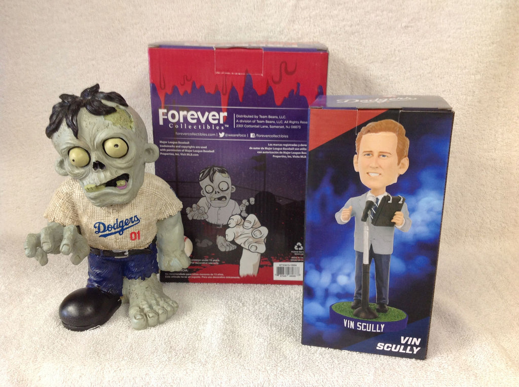 Vin Scully Bobblehead and Los Angeles Dodgers Zombie - BobblesGalore