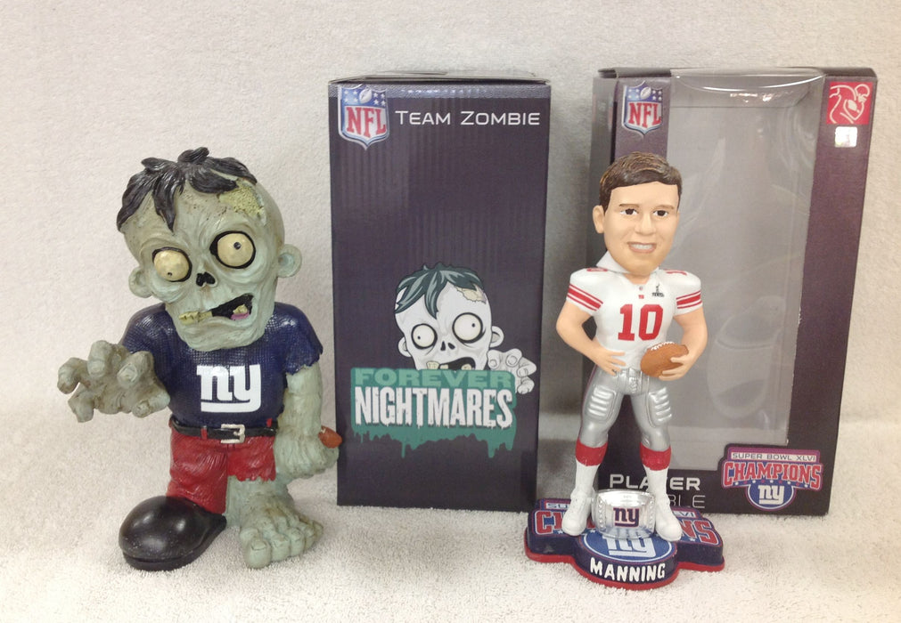 Eli Manning SuperBowl Bobblehead and New York Giants Zombie - BobblesGalore
