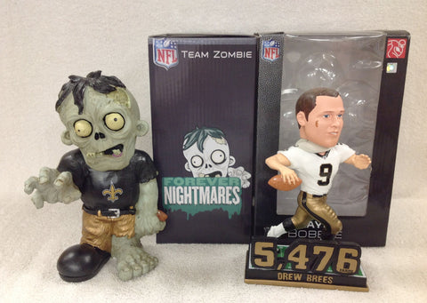 Drew Brees Bobblehead and New Orleans Saints Voodoo Zombie - BobblesGalore