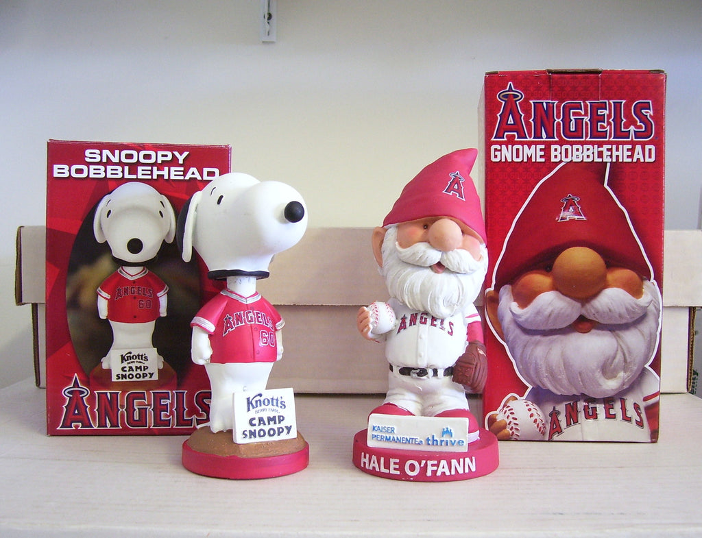Angels Snoopy and Gnome Bobblehead Set