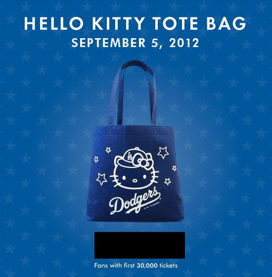 Hello Kitty Tote Bag Los Angeles Dodgers - BobblesGalore
