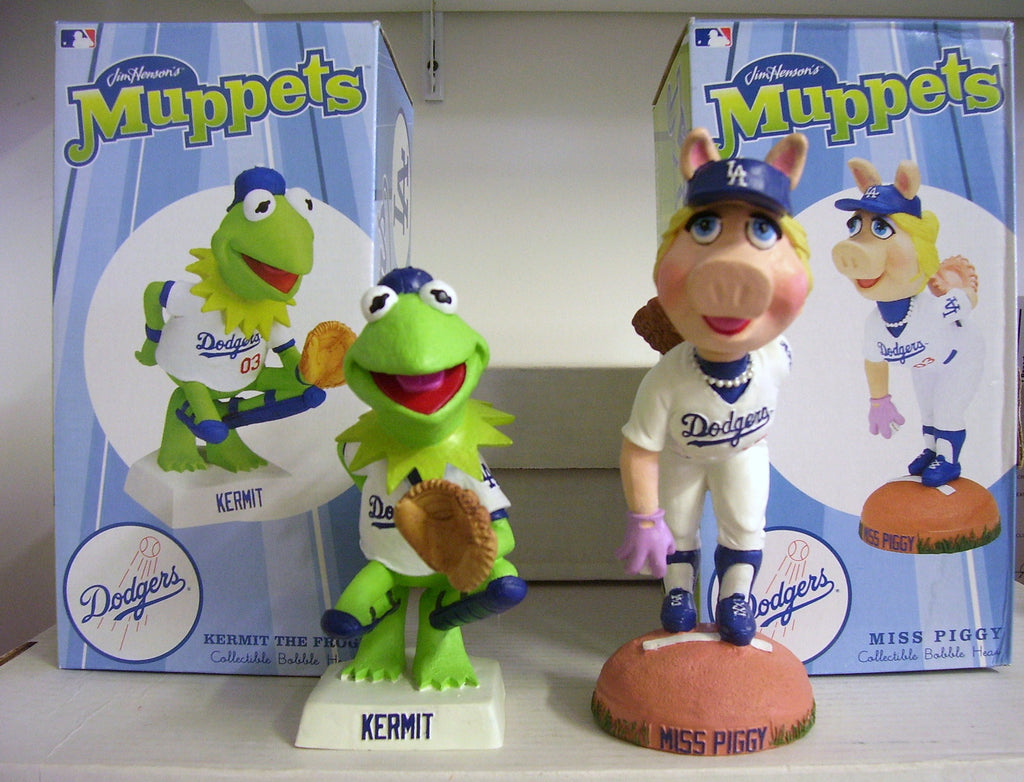 Miss Piggy and Kermit the Frog Dodgers Bobblehead - BobblesGalore