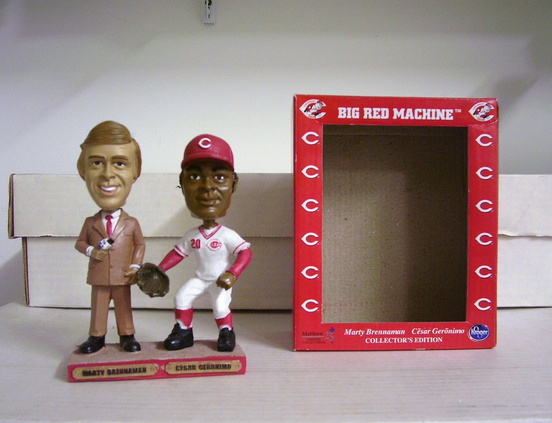 Marty Brennaman and Cesar Geronimo Dual Bobblehead - BobblesGalore