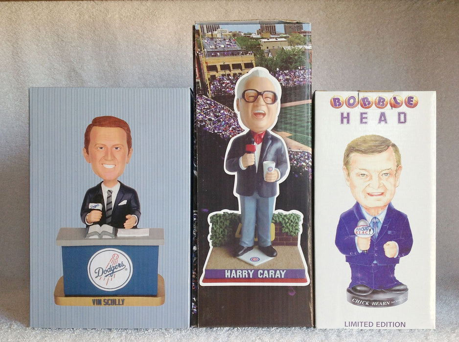 Vin Scully Chick Hearn and Harry Caray Bobblehead Set - BobblesGalore
