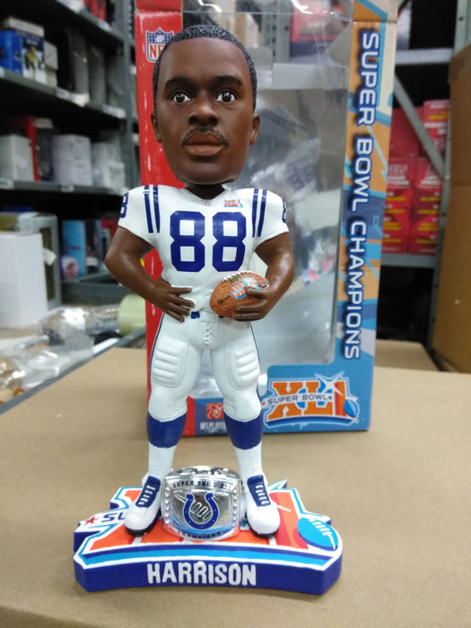 Marvin Harrison Indianapolis Colts Forever Collectibles, Super Bowl XLI 41, Ring on the base, white jersey, holding a football, full size, heavy resin/ ceramic Bobblehead NFL