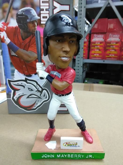 John Mayberry Jr. Lehigh Valley Ironpigs  SGA 06/26/12, Sponsored by Nacci Printing, Red Jersey and White Pants,  Heavy Resin/ Ceramic Bobblehead MiLB