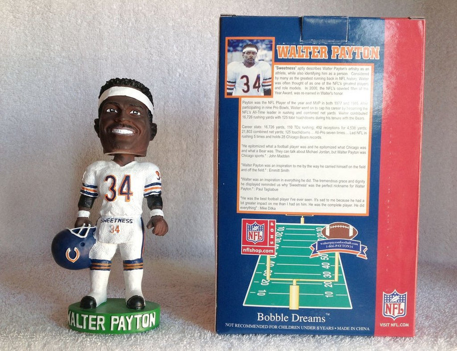 Walter Payton Chicago Bears White Jersey Arms Down Bobblehead NFL