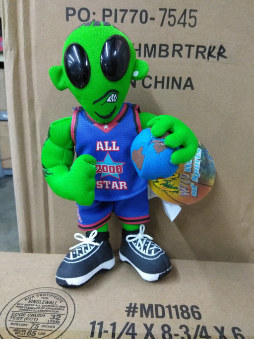 2000 All Star Green Stuffed Alien Basketball NBA Bobblehead