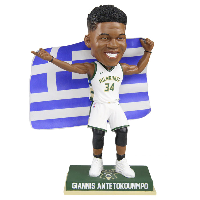Giannis Antetokounmpo Greece Flag Augmented Reality Bobblehead - White Jersey