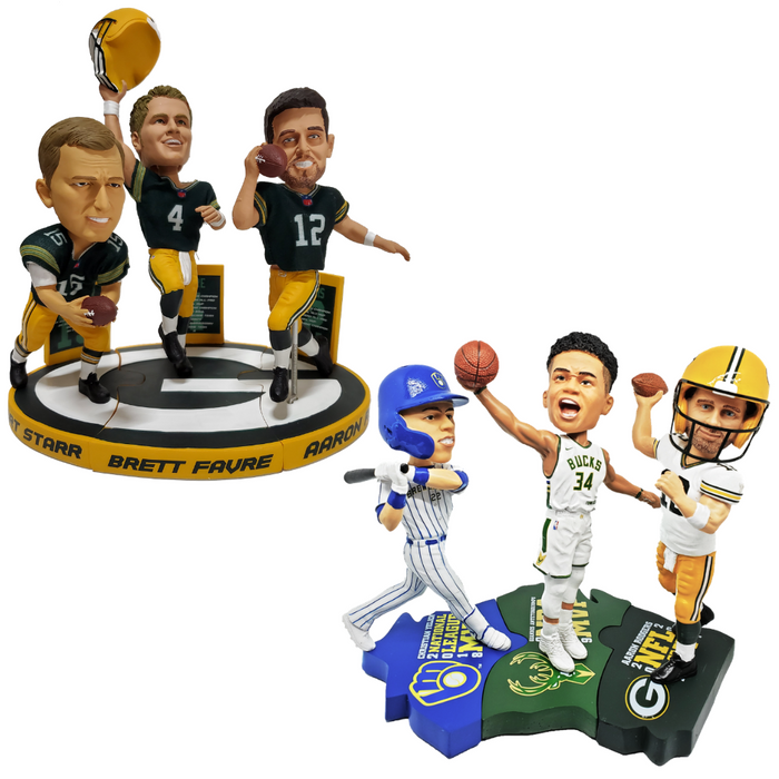 Wisconsin MVP Set and Green Bay Packers Triple Bobblehead Puzzle Set