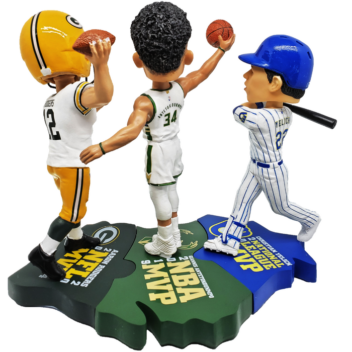 Wisconsin MVPs Triple Bobblehead Puzzle Set - Giannis Antetokounmpo (Milwaukee Bucks) Christian Yelich (Milwaukee Brewers) and Aaron Rodgers (Green Bay Packers)