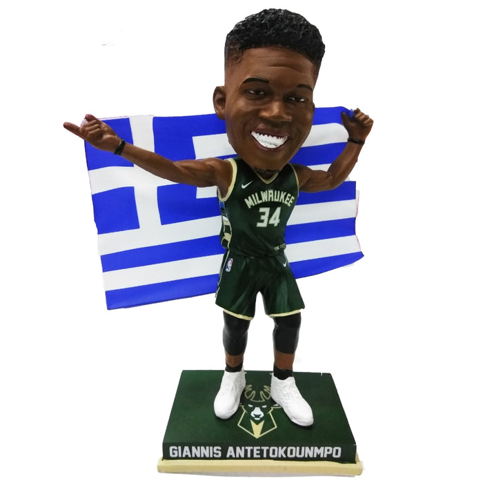 "Giannis Antetokounmpo ""Greek Freak"" Greece Flag Bobblehead"
